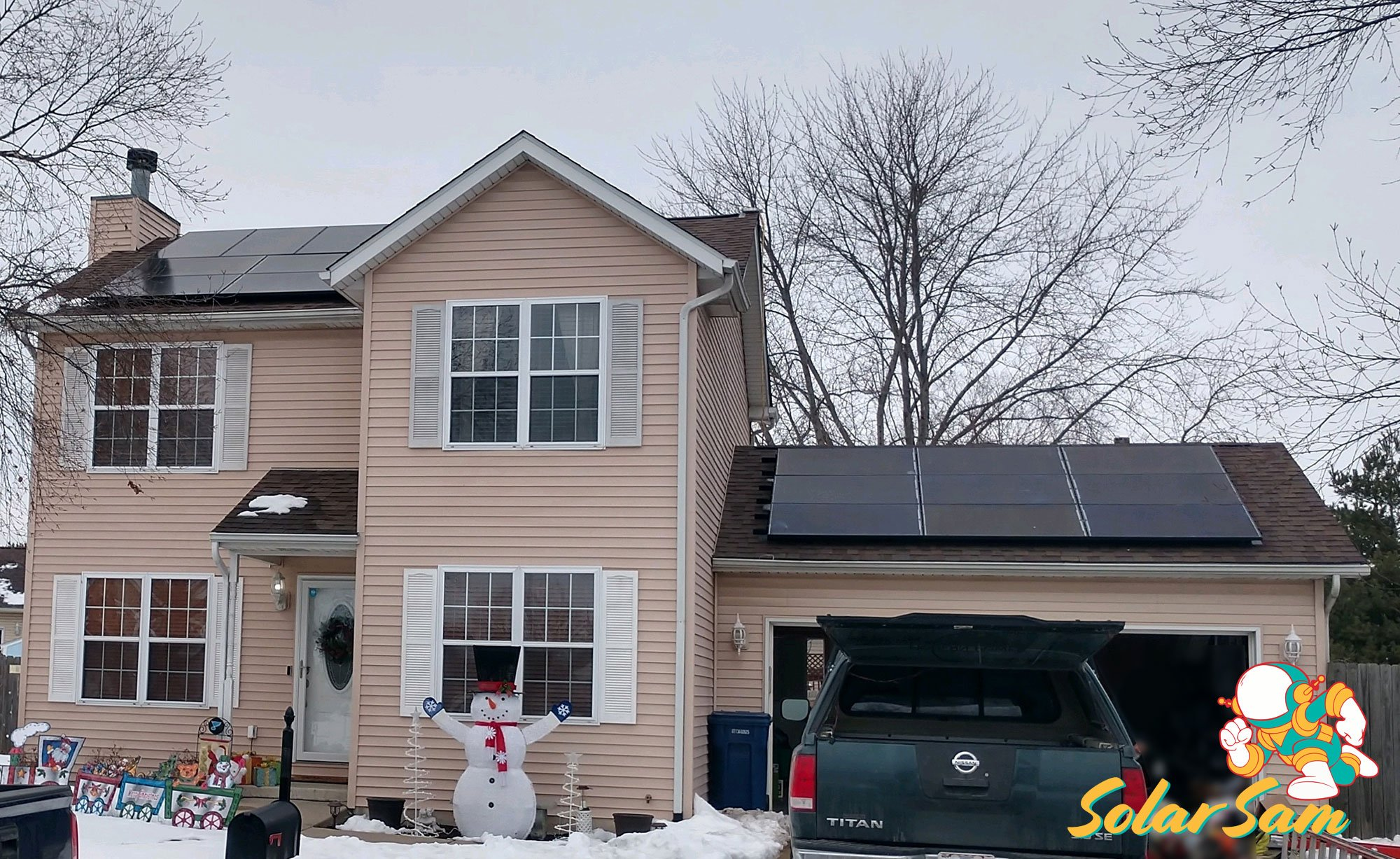 Roof House Solar Panel Installation Belleville Illinois Solar Sam Professional Panels Installation Silfab Solar Edge Inverter ATT Cellular Monitoring