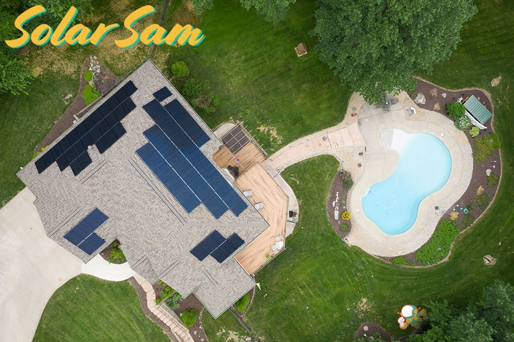 Roof Mounted Solar Panel Array in Columbia MO by Solar Sam Professional Photovoltaic Panel Installers on Two Story House Shingles