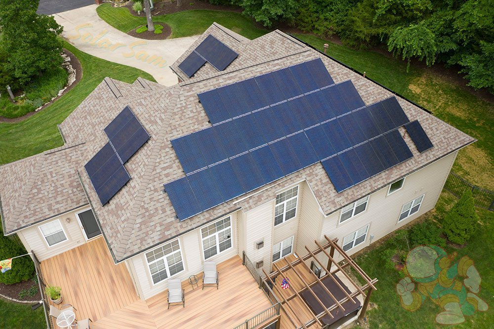 Roof Mounted Solar Panel Installation in Columbia Missouri by Solar Sam Professional Photovoltaic Panels Installers for Residential Home Agricultural or Commercial Applications