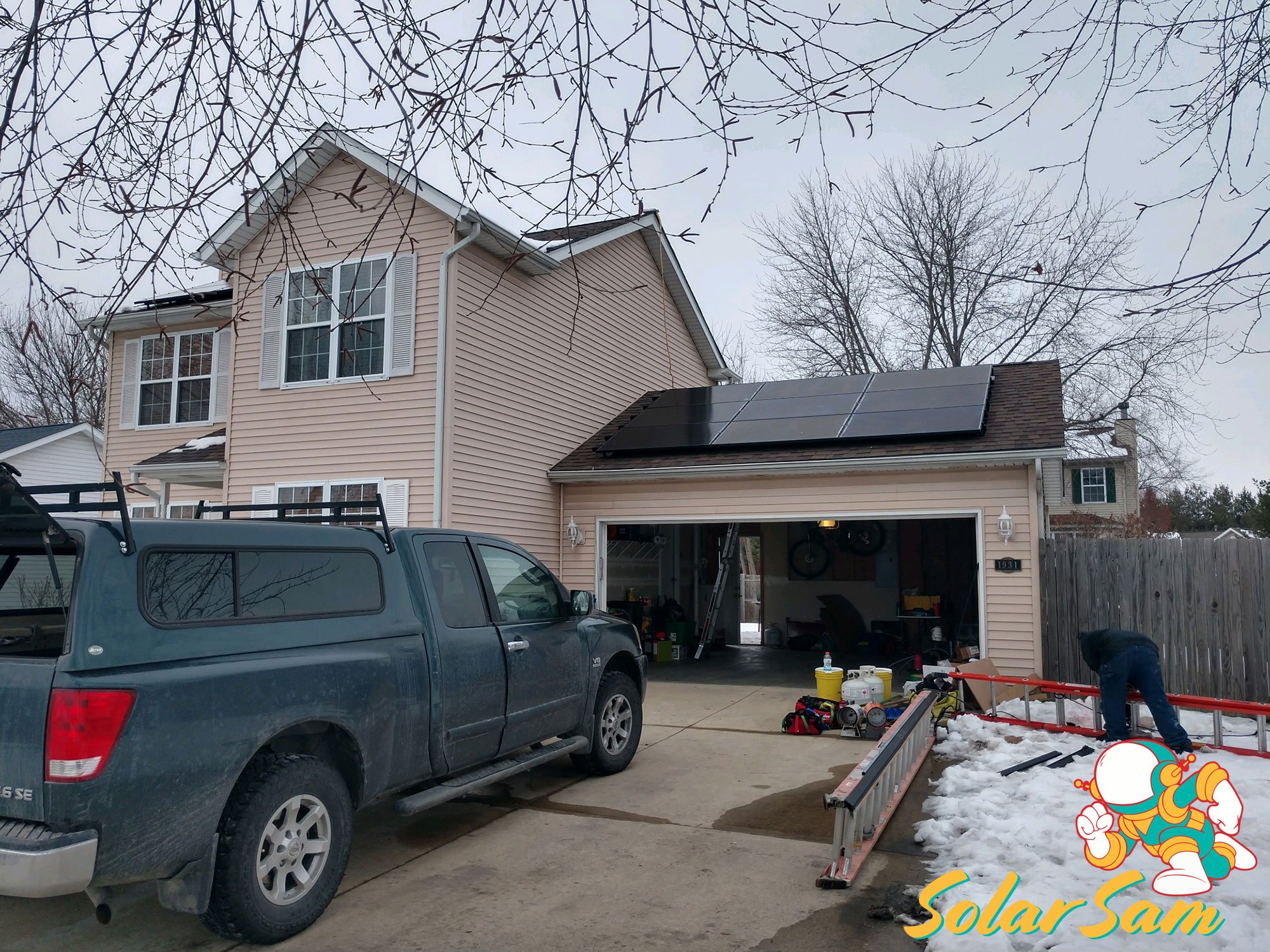 Two Story House Solar Panel Installation Belleville Illinois Solar Sam Panels Silfab Solar Edge Inverter ATT Monitoring Ameren
