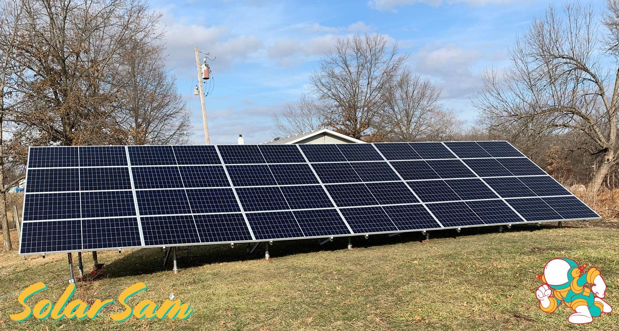 Solar Panels in Centralia, Missouri Installed by Solar Sam Professional Solar Installers using Monocrystalline panels. SMA Inverter. Sunmodo Ground Mount.