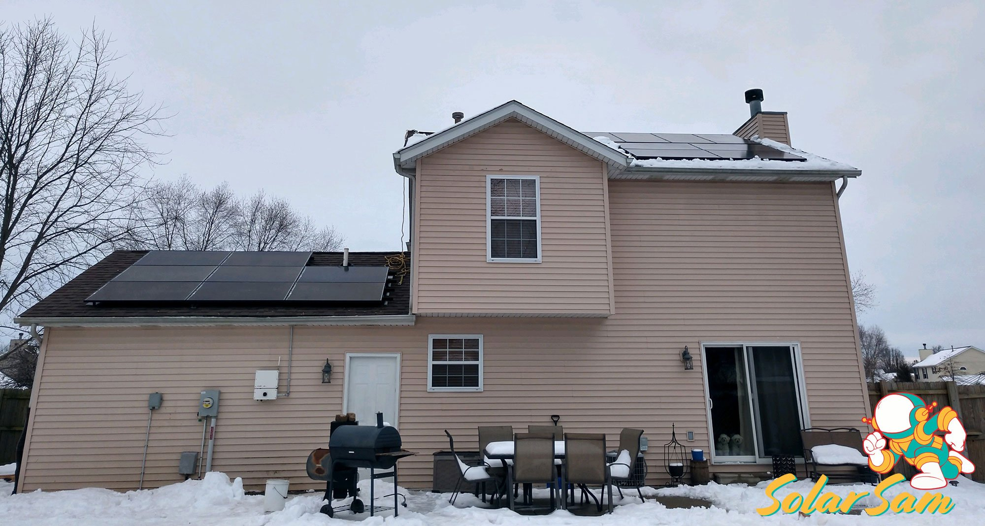 Rooftop Home Solar Panel Installation Belleville Illinois Roof Mounted House Panels Solar Sam Professional Installation Silfab Panels Solar Edge Inverter ATT Cellular Monitoring